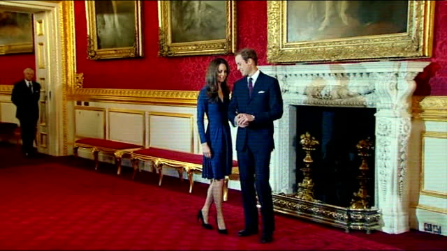 london st james's palace int prince william and fiancee kate middleton into room for photocall to mark their engagement oval sapphire and diamond... - ring stock videos & royalty-free footage