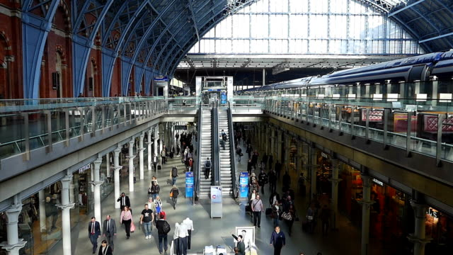 slo mo london st pancras railway station - railway station stock videos & royalty-free footage