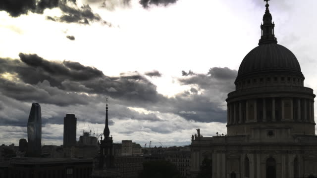 london st. paul's cathedral dome and south bank in the back lit - silhouette stock videos & royalty-free footage