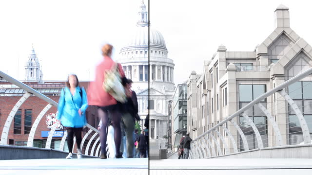 london st. paul's cathedral millennium footbridge from nobody to crowded cityscape - st. paul's cathedral london stock videos & royalty-free footage