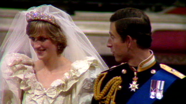 St Paul's Cathedral Prince Charles and his bride Princess Diana along aisle at their wedding Westminster Abbey EXT Prince Andrew wedding to Sarah...