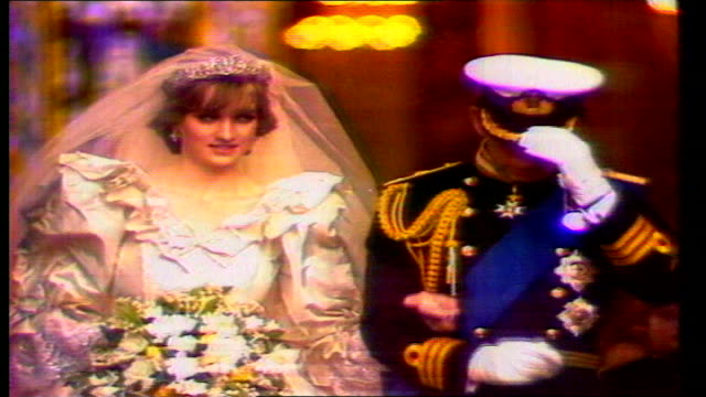 london: st paul's cathedral: princess diana walking along to altar for her wedding princess diana & prince charles leaving st paul's cathedral prince... - kissing stock videos & royalty-free footage