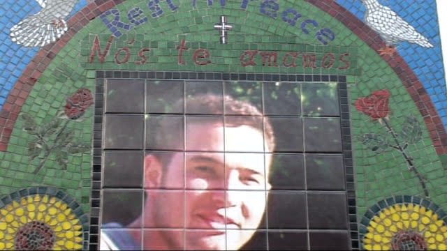 london stockwell underground station ext mosaic memorial to jean charles de menezes members of jean charles' family at unveiling of memorial - stockwell stock videos and b-roll footage