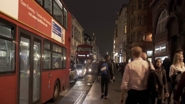london strand road at night - double decker bus stock videos & royalty-free footage