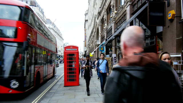 london strand road scene (4k/uhd to hd) - telephone booth stock videos & royalty-free footage