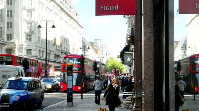 london strand road traffic (4k/uhd to hd) - the strand london stock videos and b-roll footage