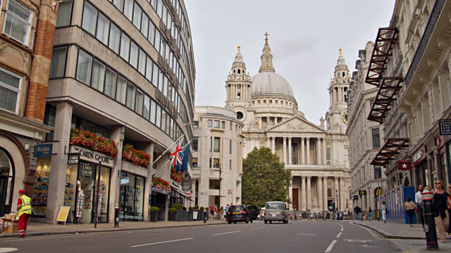london street. church. downtown - double decker bus stock videos & royalty-free footage