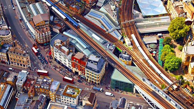 london street. downtown. aerial view. - city of london stock videos & royalty-free footage