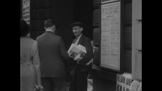 london street store front of cunard white star office newspaper headlines including 'work - great depression stock videos & royalty-free footage