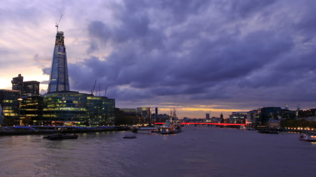 london sunset hd timelapse. river thames from tower bridge - bt tower london stock videos & royalty-free footage