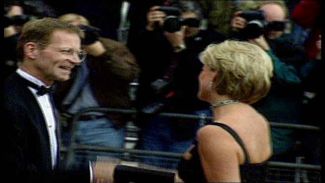 London Tate Gallery Princess Diana arriving for 36th birthday party Princess Diana inside party chatting people