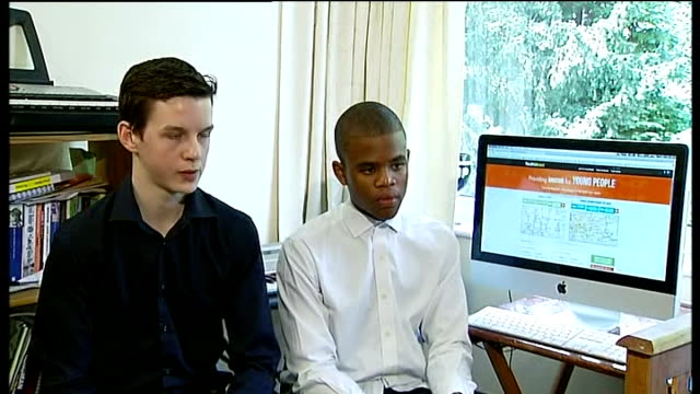 london teenagers launch website to tackle youth unemployment edouard payne and rasheed rollins setup shot with reporter / interview sot - youth unemployment stock videos & royalty-free footage