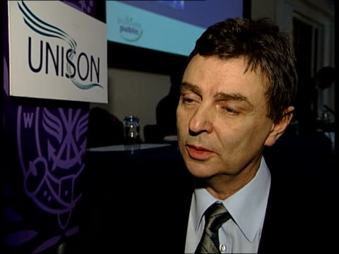 stockvideo's en b-roll-footage met london: tgv unison conference in progress speaker along to podium cms dave prentis sitting listening dave prentis ( interview sot - all about... - 12 13 years