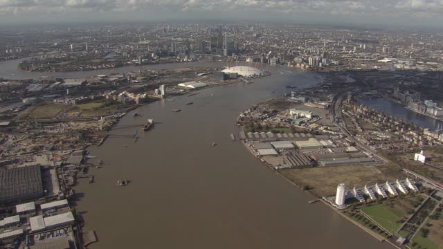 London Thames Barrier  and Millennium Dome Overview by Helicopter