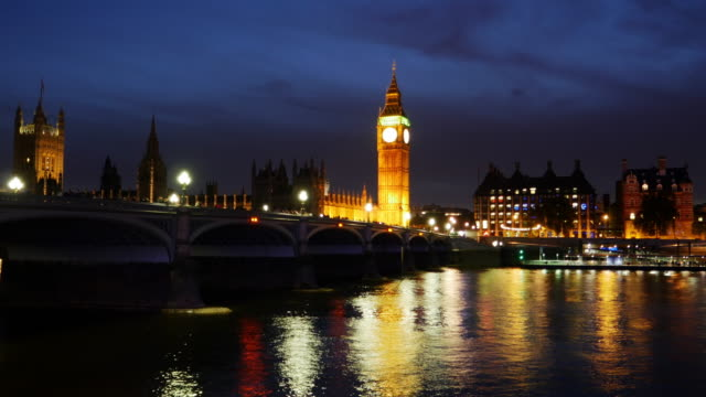 london thames river and big ben at night - clock tower stock videos & royalty-free footage