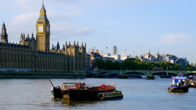 london thames river und houses of parliament - westminster bridge stock-videos und b-roll-filmmaterial