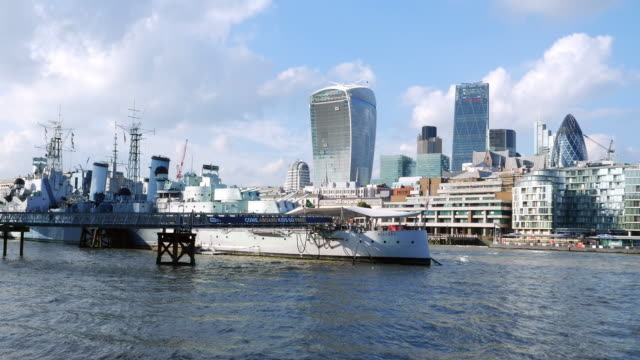 london thames river and the city - royal navy stock videos and b-roll footage