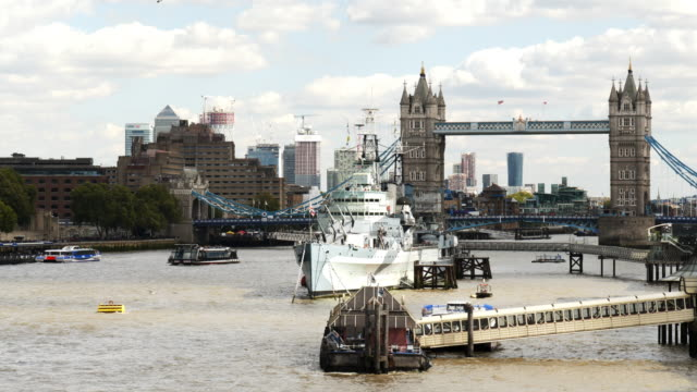 london thames river and tower bridge from the west - tower bridge stock videos & royalty-free footage