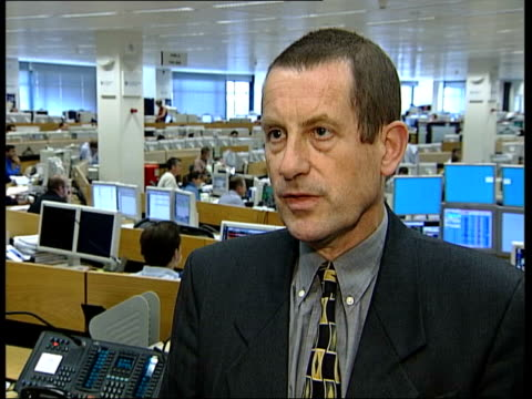 london: the city: geoffrey dicks interview sot - weaker pound will lead to higher interest rates - worldcom stock-videos und b-roll-filmmaterial