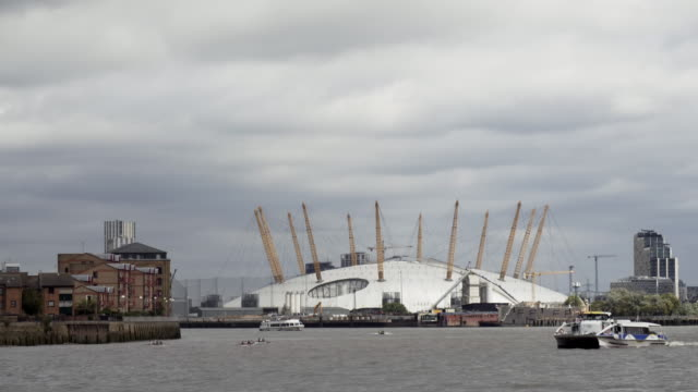 london the o2 arena and thames river - dome stock videos & royalty-free footage