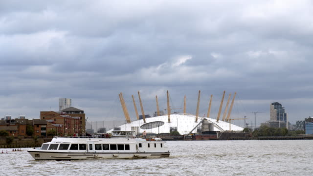 london the o2 arena and thames river - riverbank stock videos & royalty-free footage