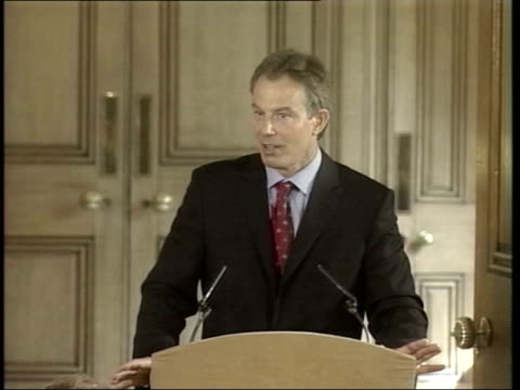 london tony blair mp to podium for press conference side press tony blair mp press conference sot as i say everytime i remain confident they will be... - weapons of mass destruction stock videos and b-roll footage