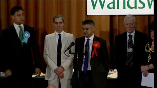 Tooting Sadiq Khan MP victory in Tooting constituency as supporters chant 'Yes we Khan' SOT