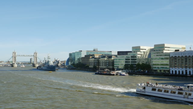 london tower bridge and southwark from the west(uhd) - gla building stock videos & royalty-free footage