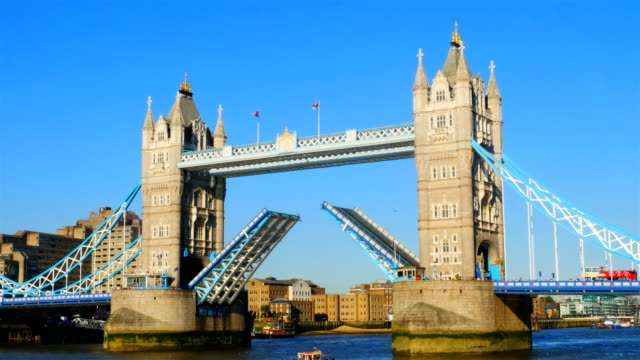 london tower bridge opening 4k - bascule bridge stock videos and b-roll footage