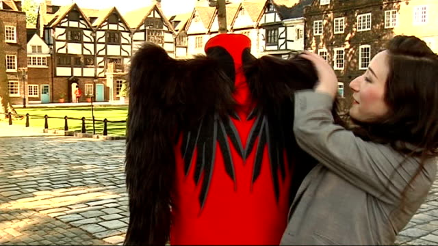 london tower of london ext two yeoman of the guard wearing tradition costume posing for photocall tourist photographing beefeaters close up of design... - raven stock videos and b-roll footage