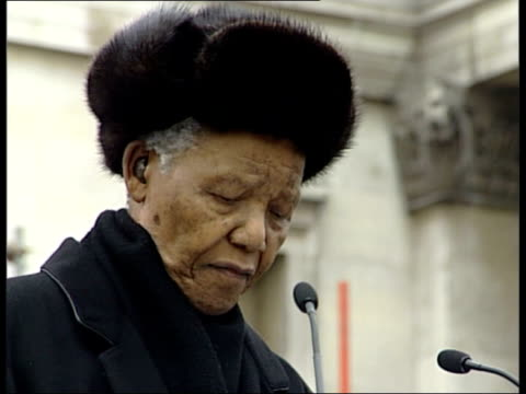 london trafalgar square mass crowds gathered in trafalgar square for antipoverty rally ms nelson mandela helped onto stage by his wife graca machel... - gordon brown stock videos & royalty-free footage