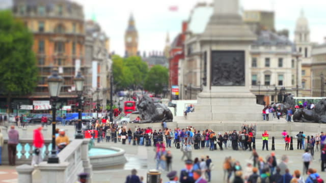 london trafalgar square (tilt shift effect) - wahrzeichen stock videos & royalty-free footage