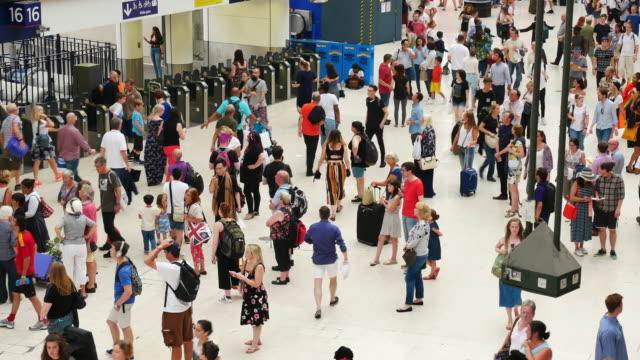 4k london train tube underground station, passengers in rush hour, england, uk - subway stock videos & royalty-free footage