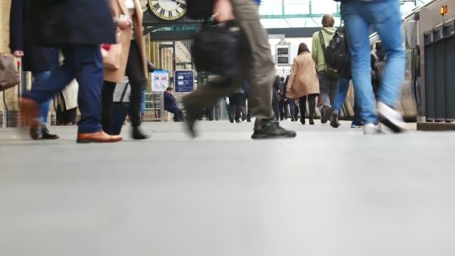 4k london train tube underground station, passengers in rush hour, england, uk - railway station platform stock videos & royalty-free footage