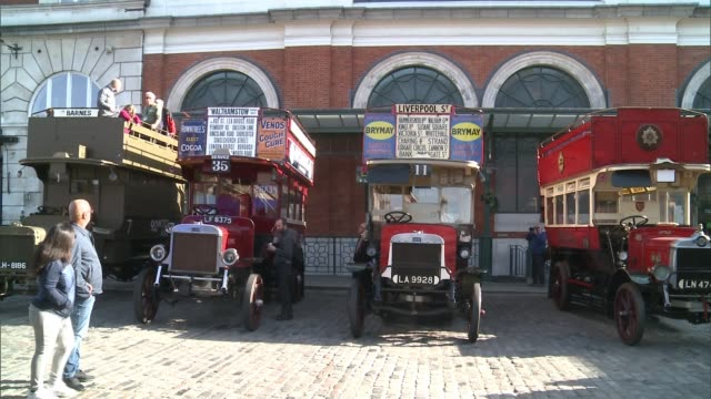 London Transport Museum displays buses used by troops in First World War ENGLAND London Covent Garden EXT Various shots WWI era buses requisitioned...