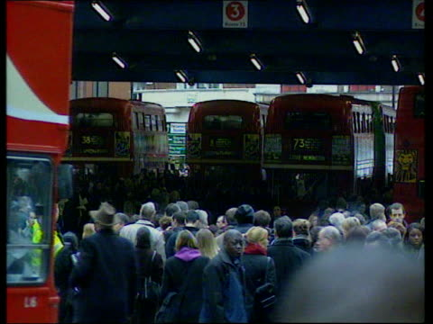 underground strike itn england london people queuing to board bus pull out london underground station closed because of workers strike tms people... - transport conductor stock videos & royalty-free footage
