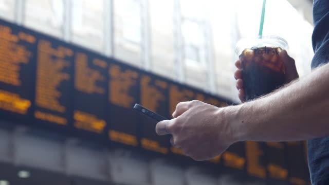 London transportation and smartphone (slow motion)