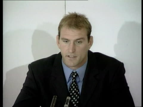london: twickenham: ext seq of cmss & mss of statue of rugby player at ground int cms photographer taking photo at press conference cms journalists'... - 1990 1999 stock videos & royalty-free footage