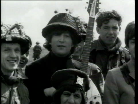 May In 1965 The Beatles filmed their second film Help Salisbury Larkhill EXT B/W footage Beatles on set for the filming of 'Help' featuring John...