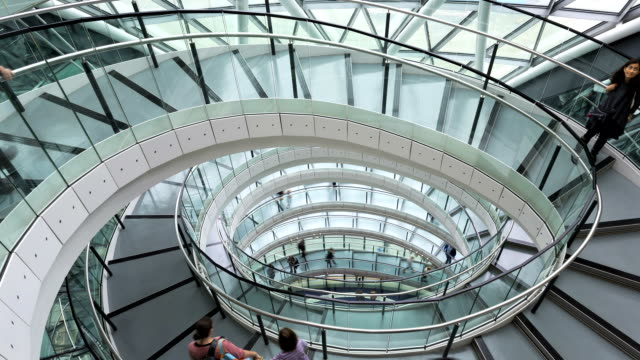 london uk england europe glc building spiral staircase tl - spiral stock videos & royalty-free footage