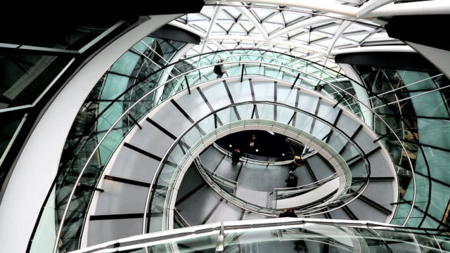 london uk glc building spiral staircase glass spiral staircase people - spiral staircase stock videos & royalty-free footage
