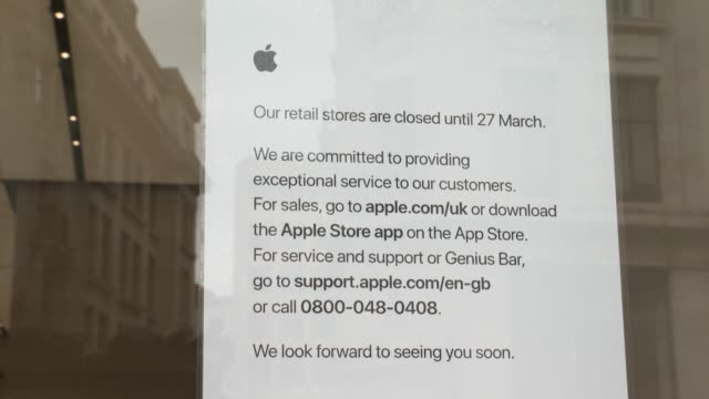 apple store on regent street closed down due the world wide covid19 out break at coronavirus in london on march 17 2020 in london england - apple store stock videos & royalty-free footage