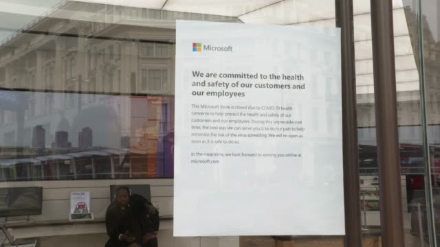 microsoft store on oxford street closed down due the world wide covid19 out break at coronavirus in london on march 17 2020 in london england - wide stock videos & royalty-free footage