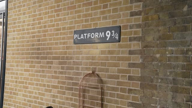 no one lines up for harry potters platform 9 3/4 at kings cross station at coronavirus in london on march 17, 2020 in london, england. - geographical locations stock videos & royalty-free footage