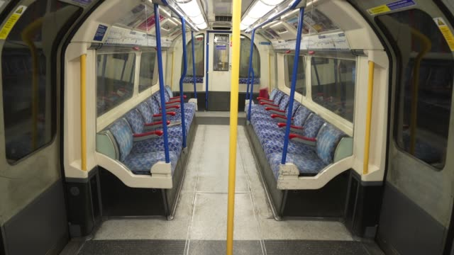 an empty london underground tube train at coronavirus outbreak in londoncoronavirus outbreak in london on march 18, 2020 in london, england. - tube stock videos & royalty-free footage