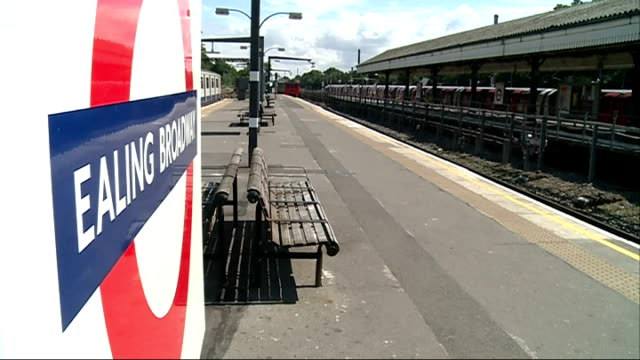 end of the line series ealing views around ealing england london ealing ext london underground train pulling into ealing broadway station and... - ealing stock videos and b-roll footage