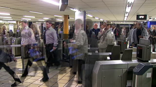 london underground plans for mobile phone use delayed ext jo debank interview sot sequence of anonymous underground passengers in station concourse... - conference phone stock videos & royalty-free footage