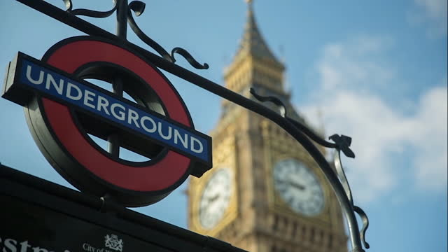 london underground sign and big ben r/f - clock tower stock videos & royalty-free footage