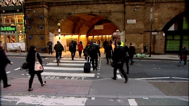 london underground strike at waterloo and embankment england london waterloo station ext commuters along nearly empty boris bike docking station /... - bicycle parking station stock videos and b-roll footage