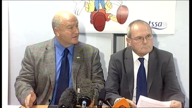 london underground strike: bob crowe and gerry doherty press conference; q & a session bob crowe press conference sot - on the 800 jobs that are... - strike industrial action stock videos & royalty-free footage